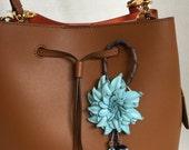 Dahlia flower inspired leather purse charm & keychain in light blue