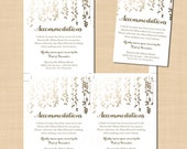 Gold Foil-Inspired Leafy Vines Accommodations Wedding Invitation Insert (3.5x5, Portrait): Text-Editable in Word, Printable Instant Download