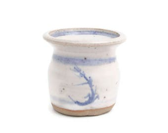 Vintage Blue Stoneware Wheel Thrown Pottery Toothpick Holder Hand Painted Shot Glass Miniature Cup Sake Trinkets