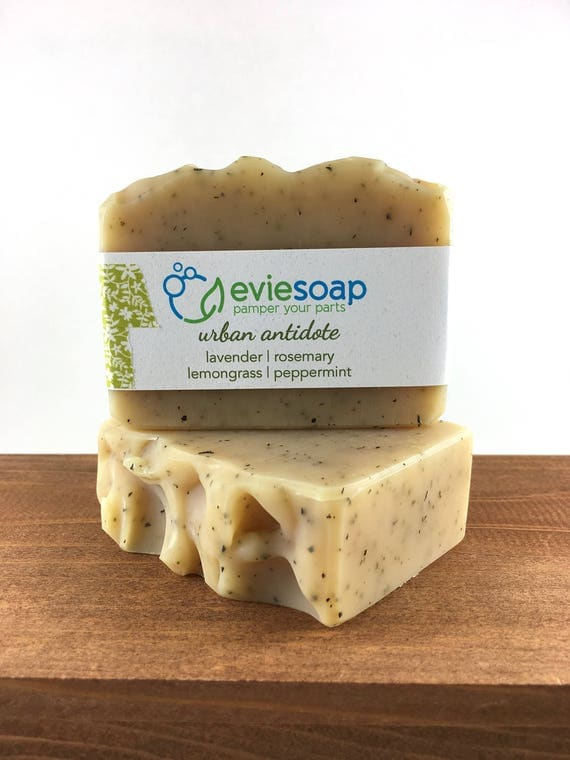 urban antidote - rosemary, lavender, lemongrass, peppermint - Handcrafted Vegan Soap, Cold Process Soap, All Natural Soap, Palm Free soap