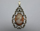 Vintage Carved Shell Cameo Pendant Sterling Vermeil Signed
