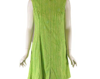 50s/60s House Dress or Beach/Pool Coverup in Lime and Apple Green Bamboo Stripes - sm, med