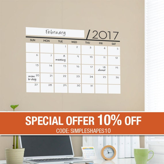 2017 Dry Erase Wall Calendar, Dry Erase Wall Decals, Dry Erase Calendar - by Simple Shapes