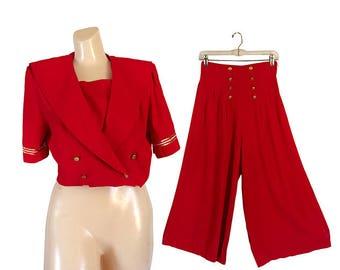 Vintage Palazzo Jumpsuit Sailor Suit Yacht Club Nautical Clothing Nautical Clothes Palazzo Pants Suit Women Culottes Wide Leg Pants Women