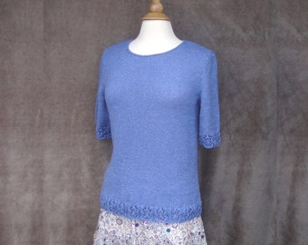 Hand Knit Top with Lace Edge, Denim Blue, T Shirt Top, Elbow Sleeves, Pullover Sweater, size Small Medium, Cotton Acrylic Blend