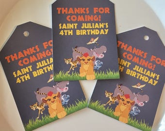 LION GUARD INSPIRED Theme Party Birthday or Baby Shower Favor Tags or Stickers Set of 12 {One Dozen} - Party Packs Available