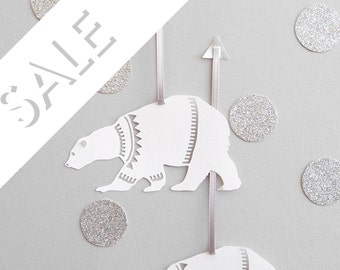 Six Papercut Polar Bear Decorations/Gift Tags