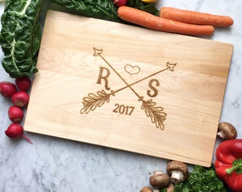 Custom Cutting Board Wedding Gift. Arrow Monogram with Initials, Year, Heart. Personalized Serving Board, Cheese Tray. Engraved Maple.