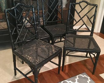 Chinese Chippendale Faux Bamboo side chairs-Set of four- Local Pick up or YOUR Shipper.