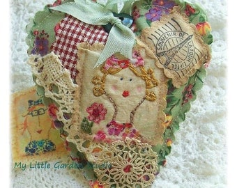 Mademoiselle Chic- Scented Sachet, patchwork, primitive hand drawn, hand embroidered in Australia
