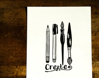Create linocut print, hand pulled linocut, open edition, 4x6 inches, black ink