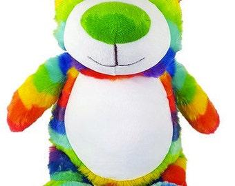 Personalised Rainbow Teddy Bear Stuffie, Baby, gift, New Baby, soft, Stuffed, Animal, Embroidered, Keepsake, Christening, Wedding, Birthday
