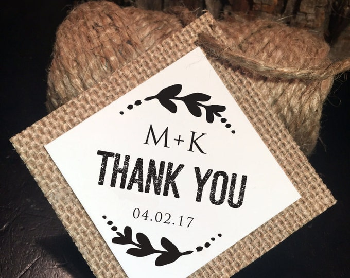 Thank you Tags, Custom. Rustic or Vintage theme. Favor tags, Welcome bag tags,  Baptism tags, Monogram wedding tags.