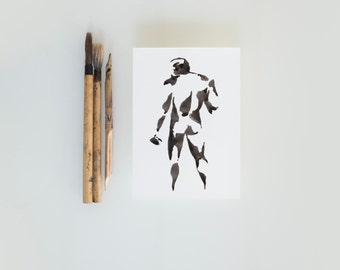 Original male nude, nude ink art drawing, black male nude ink art drawing, modern art, male pose, nude painting, nude ink drawing, nude art