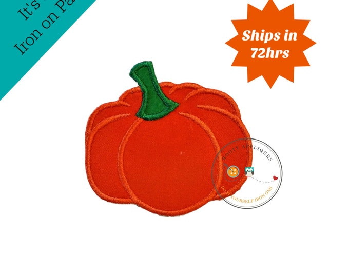 Small pumpkin  iron embroidered fabric applique patch embellishment- ready to ship