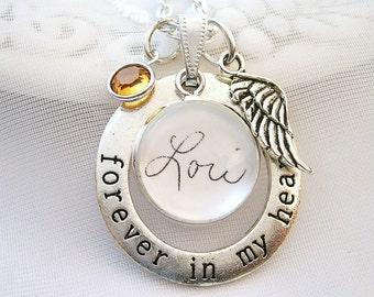 Forever in My Heart Signature Memory Necklace Handwriting Charm Personalized Memory Jewelry Sympathy Gift Memory of Grandmom Mom Memory Gift