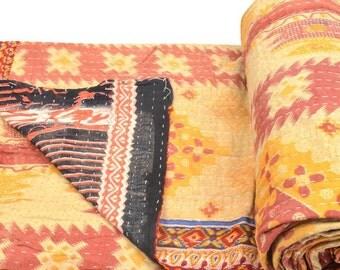 Vintage Kantha Quilt Gudri Reversible Throw Ralli Bedspread Bedding India OG572