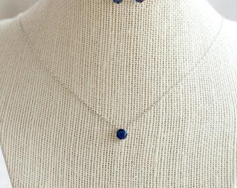 Sapphire Jewelry Set, Bridesmaid Jewelry Set, Bridesmaid Gift, Sapphire Necklace, Sapphire Earrings, Something Blue, Blue Crystal Jewelry