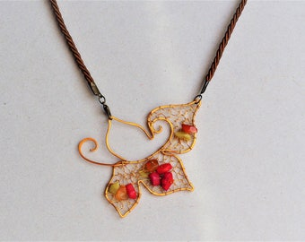 Wire necklace Red Coral Raw Gemstone Leaf wire wrapped Pendant Fall leafs Women's gift Nature Handmade jewelry Artifacts