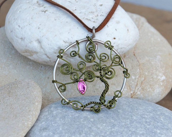 Wire tree pendant ~ Olive green ~ Handmade