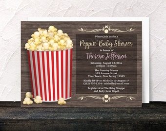 Popcorn Baby Shower Invitations - About to Pop Rustic Wood with Popcorn Bucket - Yellow Red Gender Neutral Baby Shower - Printed Invitations