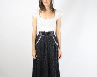 70s Gunne Sax maxi skirt, 1970s Prairie skirt, Calico bohemian maxi, XXS XS 3826