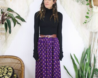 Bohemian Vintage Maxi Skirt, Purple cotton Block print Sun High waist Long skirt, Indian, Boho, Gypsy, Hippie, XS 203