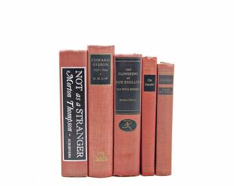 Mahogany Brown Decorative Books, Antique Book Decor, Old Book Set, Masculine Decor, Instant Library, Black Book Stack, Book Collection