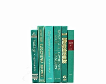 Green Decorative Books, Teal Vintage Books, Old Book Decor, Wedding Decor Centerpiece, Book Collection, Instant Library, Book Set stack