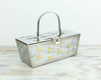 Vintage Box Handbag w/ woven stainless and brass.