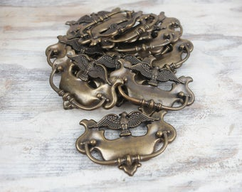 Vintage Brass Hardware, American Eagle w/ Cutout pattern, Hinged Handle, Pulls, Mounting Plates for cabinets and Furniture.