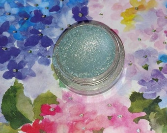 Mystic's Veil - deep teal with silver sparkles mineral eyeshadow 5 gram jar VEGAN