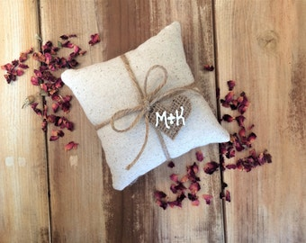 Natural Cotton Ring Bearer Pillow With Jute Twine and Burlap Heart Tag- Personalize With Initials or Wedding Date- 3 Sizes-Natural-Rustic