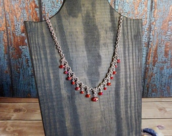 Persephone Micro Byzantine Arrow Chainmaille Necklace with Red Faceted Glass Beads