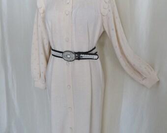 70s vintage womens sweater coat dress, off white knit, warm wool, granny sweater coat