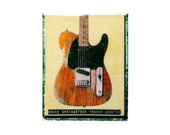 Bruce Springsteen fender esquire  guitar art print / music gift / rock n roll art / music room decor / guitar gift / man cave art