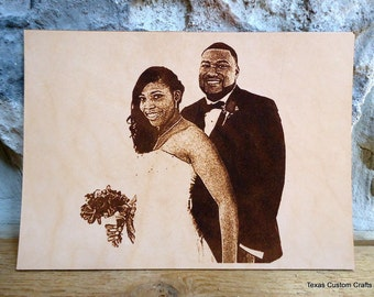 3rd Anniversary Gift for Women - Have Her Cherished Wedding Photo Laser Engraved  for Your Third Anniversary in 4x6, 5x7 or 8x10