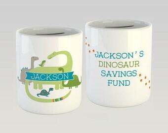 Dinosaur Money box - personalised - Dino moneybox - piggy bank - money bank - dinosaur gift - savings bank - dinosaur print