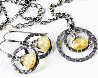Citrine Necklace, Oxidized Sterling Silver wire wrapped yellow gemstone, fine delicate necklace, gift for her, November birthstone,2397&2376