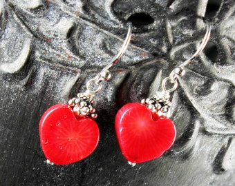 Red Bamboo Coral Earrings, Sterling Silver earrings, red heart earrings, red gemstone, dangle earrings, gift for her, Valentines gift, 2630