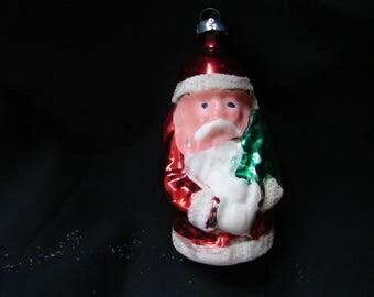 1950s Ornament, Santa Claus Christmas Ornament, MERCURY Glass Ornament, Glass Ornament, Old Santa West Germany