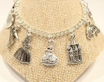Cinderella Bracelet - Cinderella Charm Bracelet - Princess Charm Bracelet - Childs Jewelry - Girls Bracelet