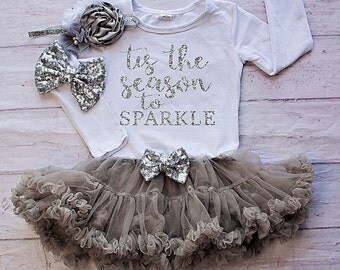 Baby Girl Christmas Outfit..'Tis the Season to Sparkle Bodysuit...Silver Christmas bodysuit /Dress..Baby First Christmas Outfit
