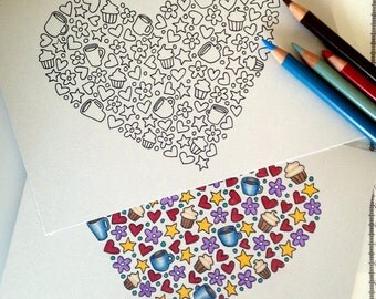 A Full Heart Coloring Card, 5x7