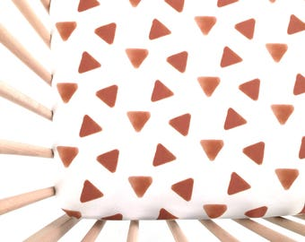 Crib Sheet Rust Stamped Triangles. Fitted Crib Sheet. Baby Bedding. Crib Bedding. Minky Crib Sheet. Crib Sheets. Rust Crib Sheet.