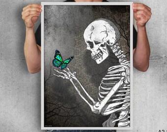 The skeleton butterfly ,art,digital print,poster,gothic,skull,artwork,black & white,butterfly,home decor,wall decor