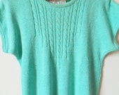 Minty Mint Green Vintage Sweater / Kawaii Pastel Mint Sweater / Sweet Aqua Mint Short Sleeve Sweater