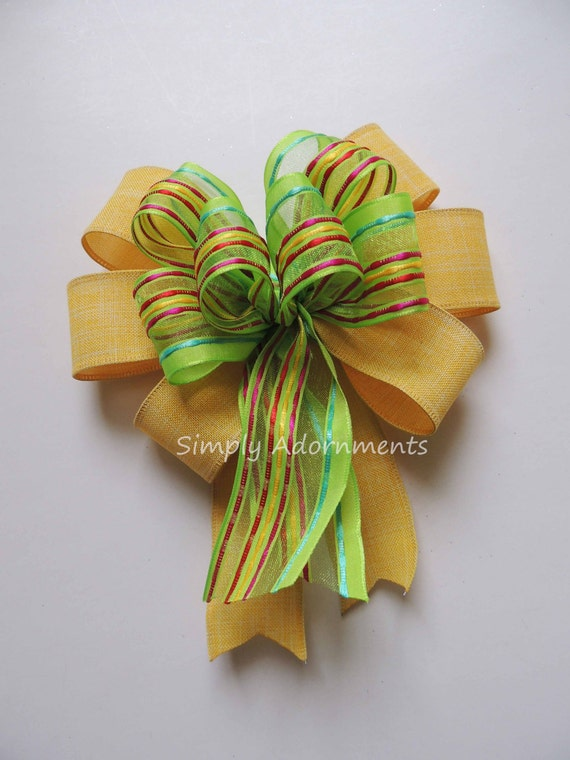 Yellow Green Spring Stripes Bow Yellow Green Easter Wreath Bow Gift basket Bow Spring Easter Gift Wrap Bow Spring Door Hanger Decor Bow
