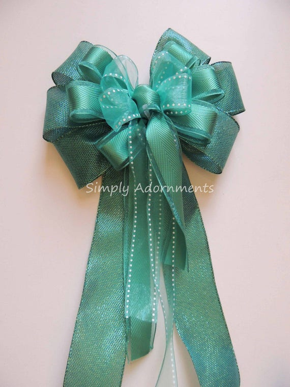 Green Teal Blue Bow Teal Green Wedding Pew Bow Teal Green Wedding Decoration Spring Wreath Bow Green Teal Wedding Ceremony Decor Gift Bow