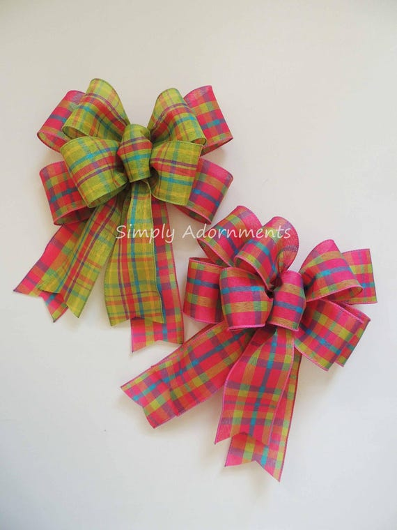Pink Lime Plaid Wired ribbon bow Pink Green Spring Plaid Wreath Bow Pink Green Door Hanger Bow Pink Green Plaid Wreath Bow Handmade Gift bow